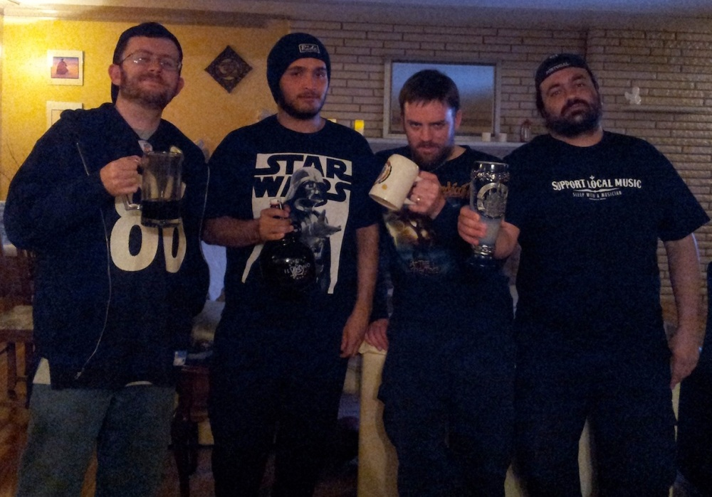 From left, Stoutmeister, Shilling, Franz Solo, and E-Rock gathered for the first Beer Battle back in February on Super Bowl Sunday.