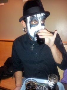 And we re-ran this picture of Brandon (from Halloween) just for how he has his pinky finger extended while drinking Black Eyed P.A. at Tractor.