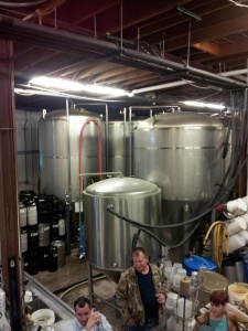 Ted's not kidding, it's pretty tight quarters in the back of the brewery.