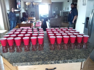 The sample cups were lined up prior to Beer Battle II.
