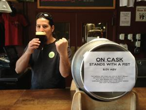 Since Stoutmeister forgot to take any pics when he visited Marble, the good folks there were kind enough to lend us this photo of brewer Josh Trujillo and his fabulous firkin.