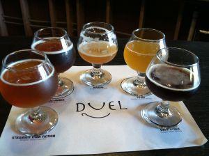 The full flight of Belgian beers at Duel.