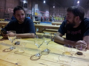 Shilling, left, and Franz Solo helped polish off quite a few goblets of strong ale and sample cups of the other beers.