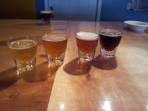 Four of the first five beers at Kaktus. From left, the Helles, Hefeweizen, Pale Ale, and London Porter. Only the ESB is not pictured.