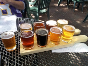 The sampler of goodness from Second Street. The Cherrywood Imperial Smoked Porter stands out among its lighter-colored brethren.