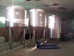 The first of Bosque's new fermenters and bright tanks have been delivered, with the rest in storage until the space is ready.
