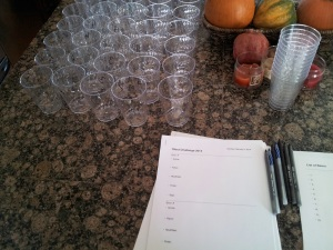 We had our ballots and our numbered cups ready to go.
