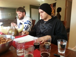 Franz Solo, left, and Shilling found Cazuela's stout to be their favorite.