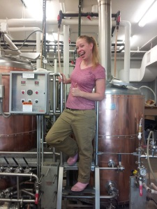 As Manuel predicted, of the two photos taken of Kaylynn inside the brewery, we went with the silly one.