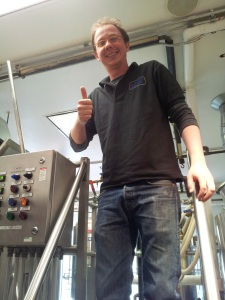 New brewer James Warren gives a thumbs up to his job at Blue Corn.