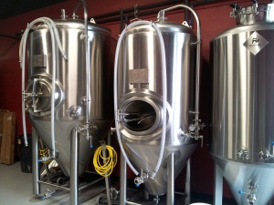 These stainless steel beauties just await the first batches of Pi Brewing's beers.