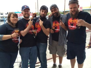 The attending Brew Crew members celebrate the victory of Hammer Smashed Stout. From left, Mrs. Solo, Stoutmeister, Brandon, E-Rock, and Franz Solo.