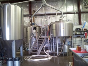 This is La Cumbre's current 15-barrel brewhouse. It's at max capacity, so a new one will be installed by early next year.