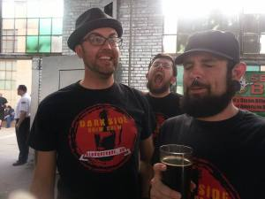 It was a far-from-perfect event, but we still managed to have some fun. From left, honorary Crew member Dan Hicks, Stoutmeister photo bombing in the back, and Brandon enjoy the Preacher's Share from Second Street.