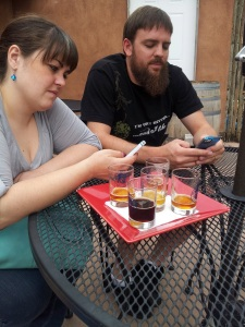The Solos make sure to check into Untappd while enjoying the sampler tray at Blue Heron.