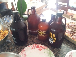 The growlers and half-growlers for the Hefe Challenge. That's Kaktus in the Tractor half-growler.