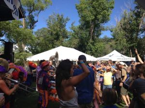 Fans dance to the Hill Stompers.