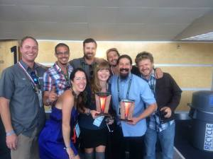 The Marble team, including Ted Rice on the left, poses with their trophies for Small Brewery and Brewer of the Year. (Photo courtesy of Marble Brewing)
