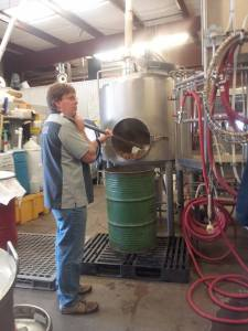 Canteen brewer Brady McKeown cleans out the mash tun in preparation for our brew session.