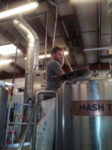 Franz Solo was first to tackle the mashing.