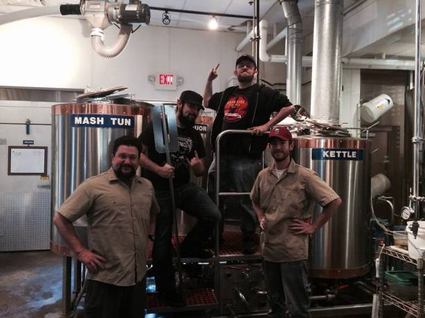Your brewing day team, from left to right, Zach, Brandon, Stoutmeister, David.