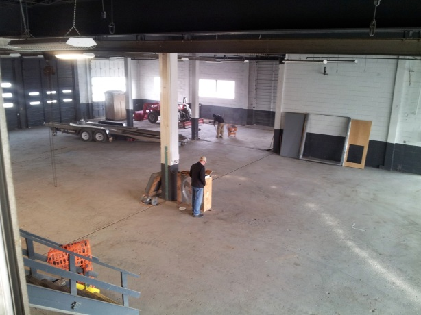 Looking down to the future brewery floor, the brewhouse will be located against that wall in the upper right corner.