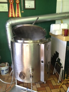 Sandia Chile Grill's small brewing system is located in the front of the restaurant.