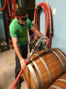 Tim has been aging beer in two Pinot Noir wine barrels in the back. They should be ready soon. (Photo courtesy of Turtle Mountain)