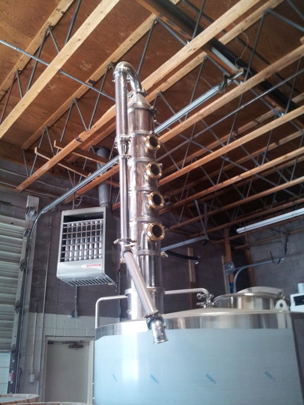 "The distillation column is the ""pride and joy"" of Distillery 365's equipment."