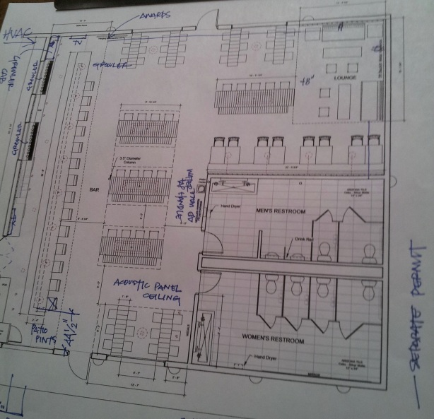 Blueprints are not the easiest things to discern, but this should give you a rough idea of the new look of Marble's pub. Note the stage in the northeast corner and the new communal tables in the center.