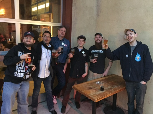 Some of the cast of characters on the inaugural beer ride, including Stoutmeister, far left, and Dan Mayfield, second from left.