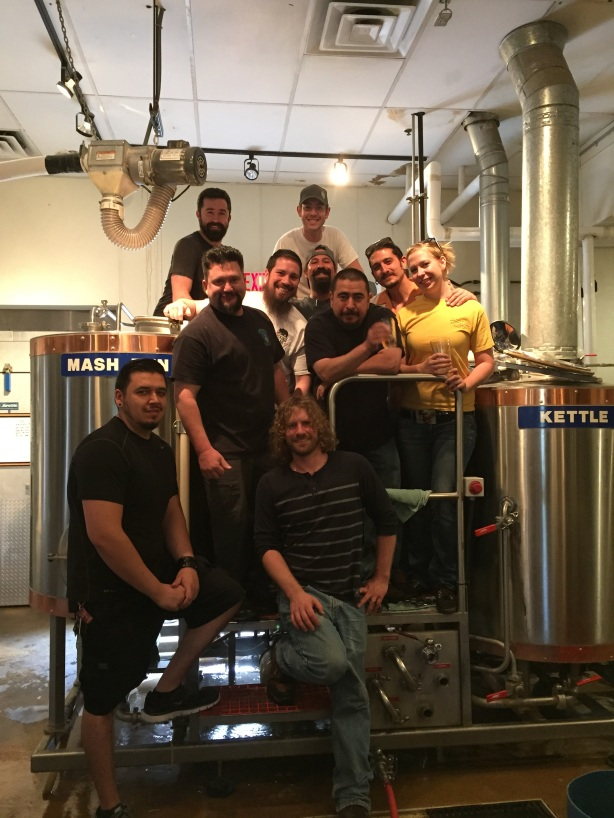 The band of merry brewers. From left, starting at bottom, Robbie from Canteen, Matt from Ponderosa. Middle row, Zach from Chama, Justin from Boxing Bear, Josh from Marble, Daniel from La Cumbre, Andrew from Marble, Kaylynn from Nexus. Back row, Tim from Turtle Mountain and David from Chama.