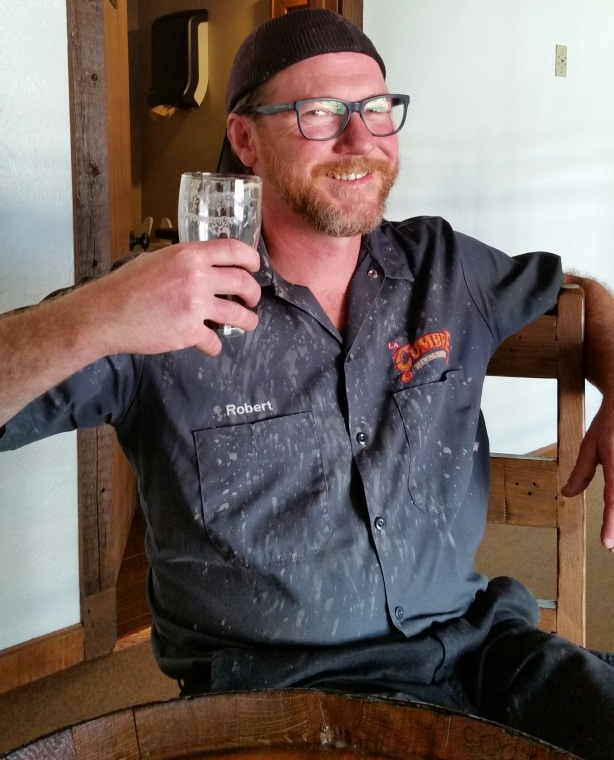 La Cumbre's certified Cicerone, brewer Bob Haggerty, was attacked by some hefeweizen out of the fermenter earlier in the day. Hey, we're all human.