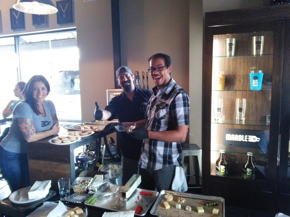The Marble staff was all smiles throughout Beer Week, including at the second Beer, Cheese, & More at Marble Westside.