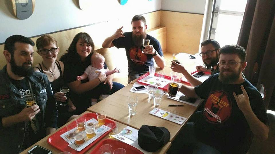 The Crew came up short in the second Battle of the Beer Geeks (congrats again to the Babes in Brewland!), but we still had a great time, and not just because of Baby Bannon. From left, proud parents Brandon and Taylor, Mrs. Solo, Franz Solo, John, and Stoutmeister all enjoying our Darkside Donutbrau.
