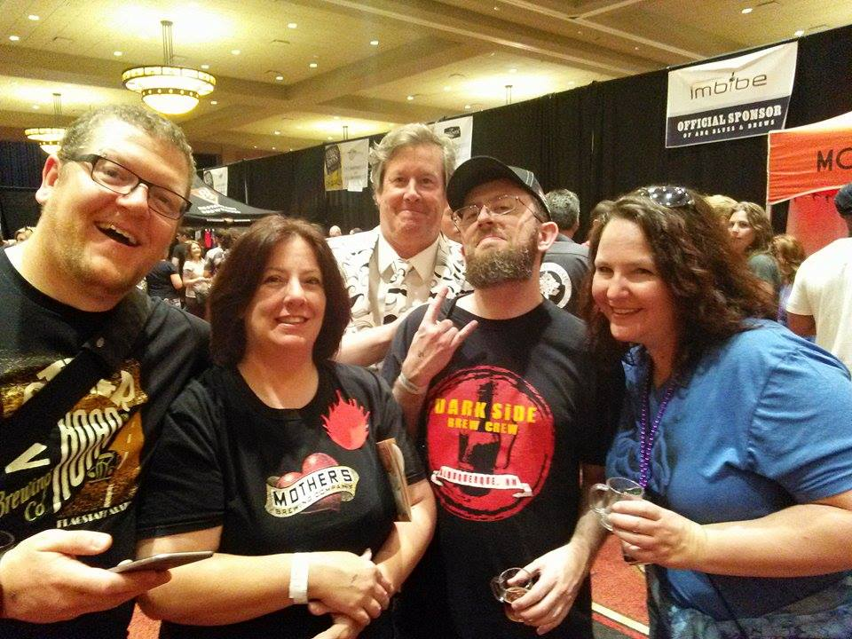 The Crew who attended Blues & Brews were a happy bunch. From left, Adam, Laura, Stoutmeister, Kristin, with the photo bomb from Karl.