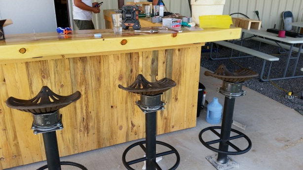 The patio bar was nearing completion last week.