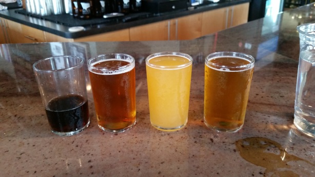 The second half of the flight, from left, Mild at Heart, Posh Premium Bitter, Wit Rock, Le Becquerel Saison.