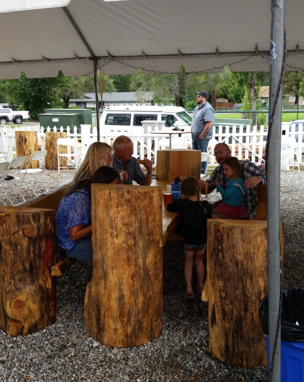 The rustic log tables and chairs were awesome.