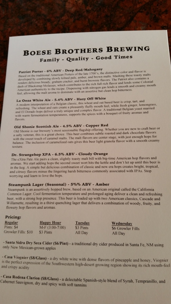 The beer menu for the grand opening. Only the XPA is not yet ready.