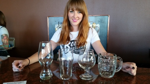 Jaimie shows off the proper glassware that will be on display this weekend.