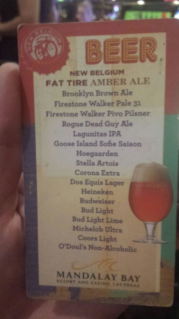 The craft beer list now available at Mandalay Bay.