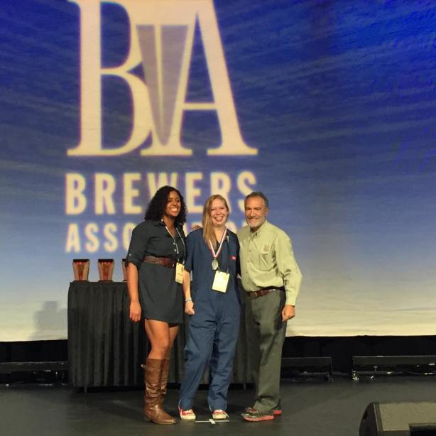Nexus brewer Kaylynn McKnight, center, earned her first GABF medal as a head brewer.