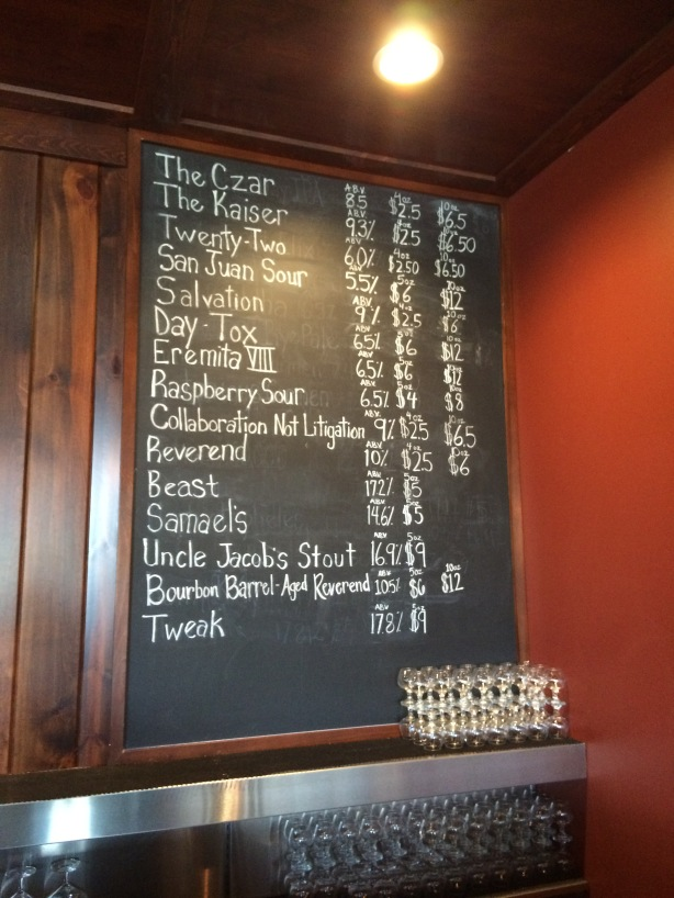 The ridiculous lineup of Avery beers, many only on tap at the brewery.