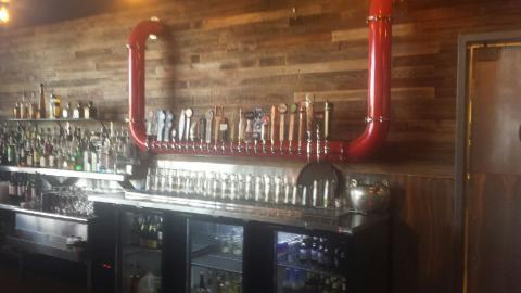 The bar inside Vernon's Open Door in the old Stumbling Steer space.