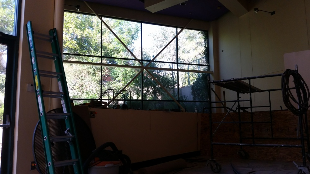 The brewery itself will be located in front of this huge window.