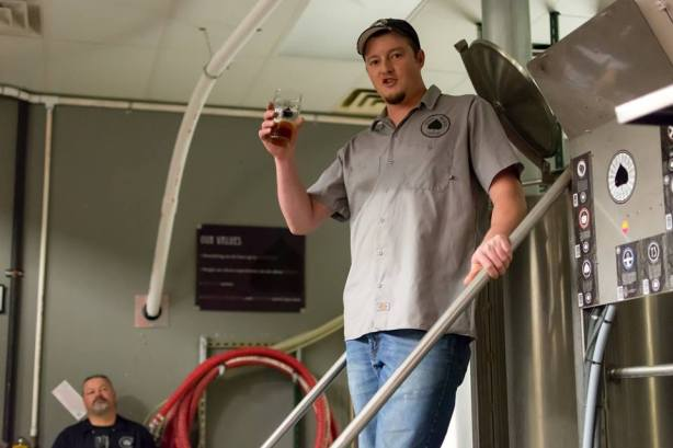 Head brewer John Bullard talks about his beers with the crowd.