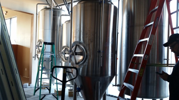The tanks are in the building and ready to be hooked up.