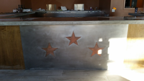 The star motif is already up on the bar.