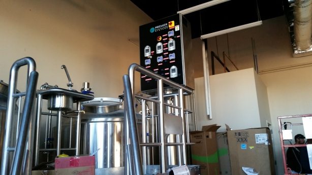 The 7-barrel brewhouse features a state-of-the-art control panel.
